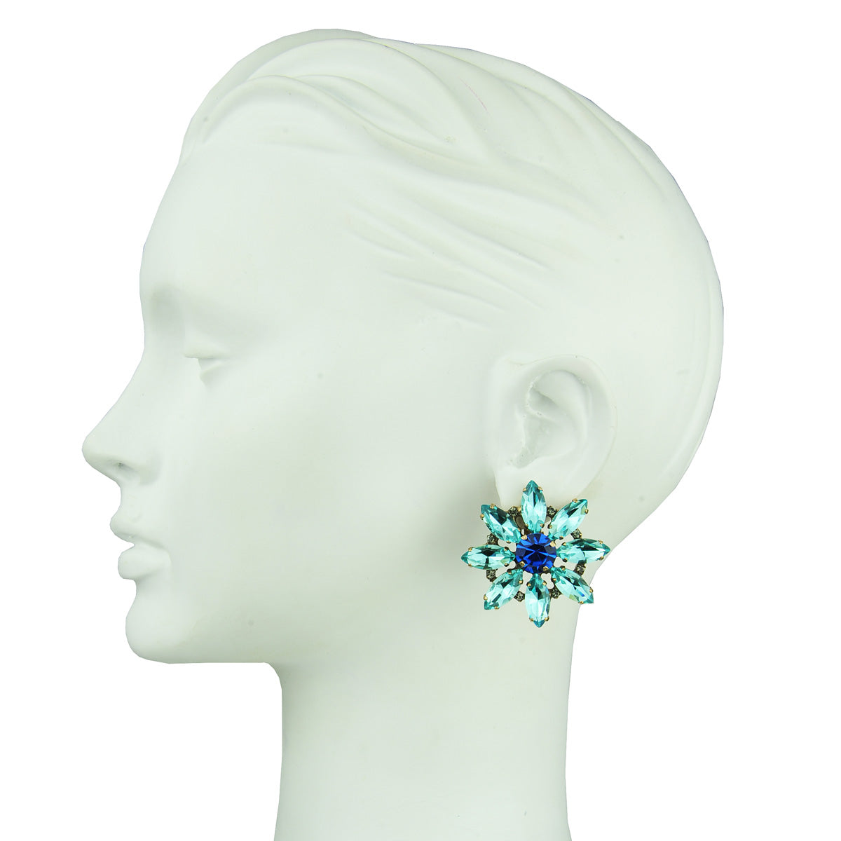 clip earrings with aqua marine crystals katerina psoma vintage rosettes