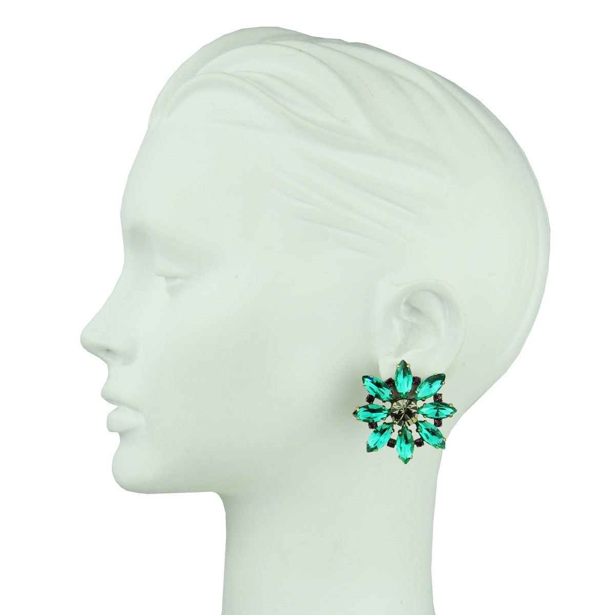 clip earrings with emerald crystals katerina psoma
