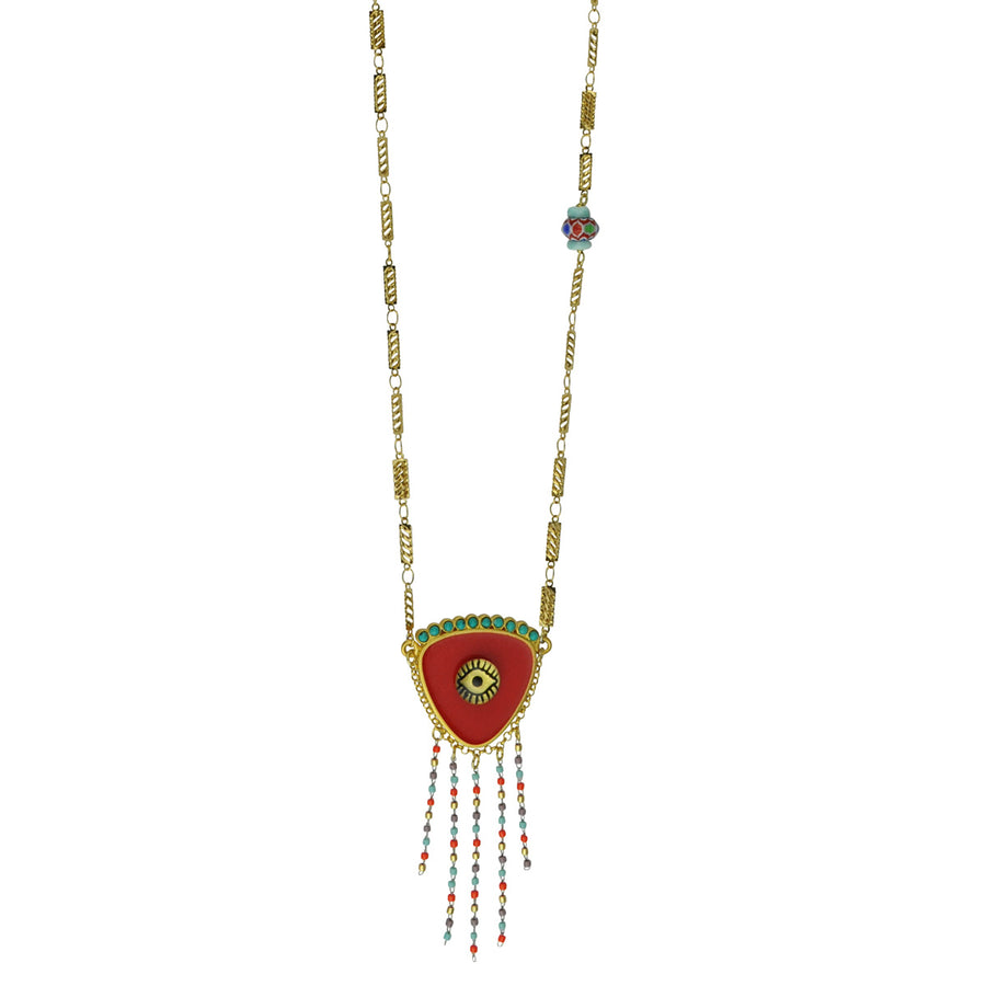 KATERINA PSOMA EVIL EYE LONG NECKLACE RED