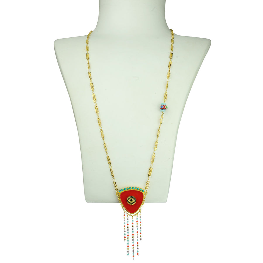 KATERINA PSOMA EVIL EYE LONG NECKLACE RED FOR GOOD LUCK