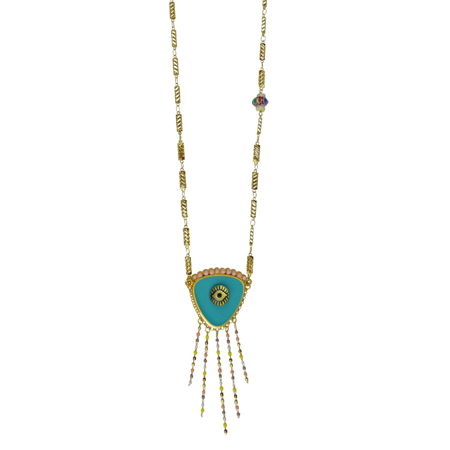 katerina psoma evil eye long necklace coral