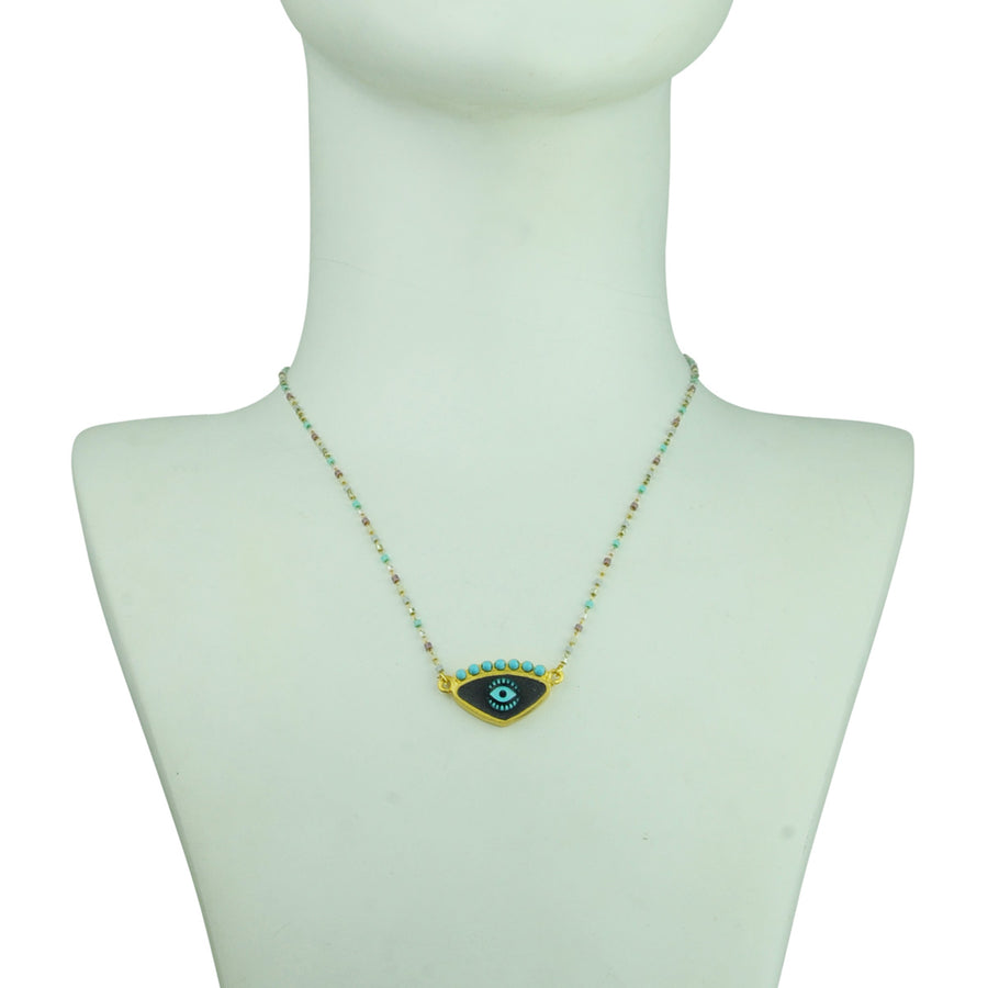 katerina psoma grey evil eye short necklace with beads detail