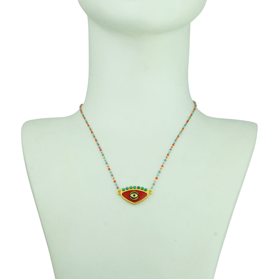 katerina psoma red evil eye short necklace with beads detail