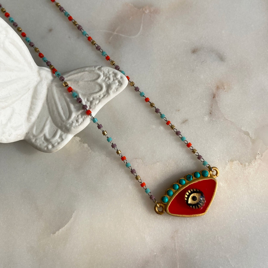 katerina psoma red evil eye short necklace with beads boho style