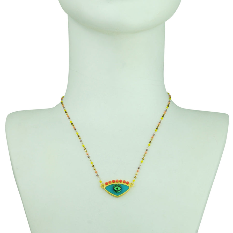 katerina psoma turquoise evil eye short necklace with beads everyday talisman