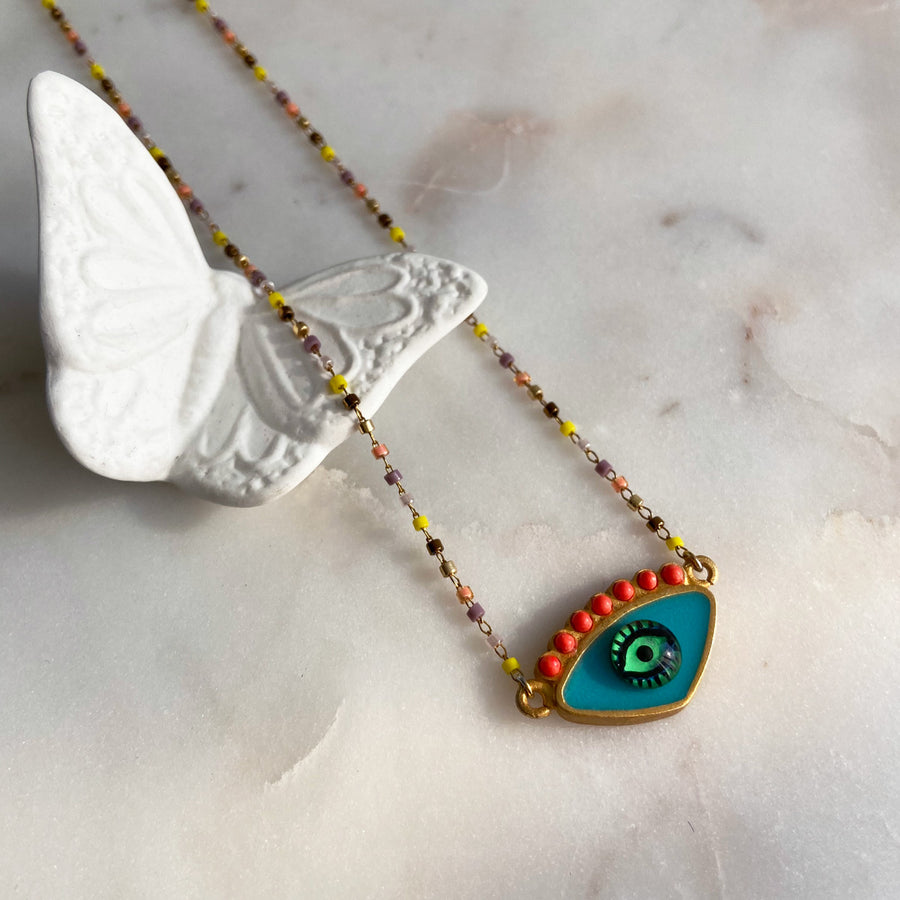 katerina psoma turquoise evil eye short necklace with beads  boho style