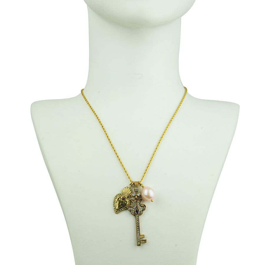 Chain Necklace with Vintage Charms and Pearl for gift katerina psoma