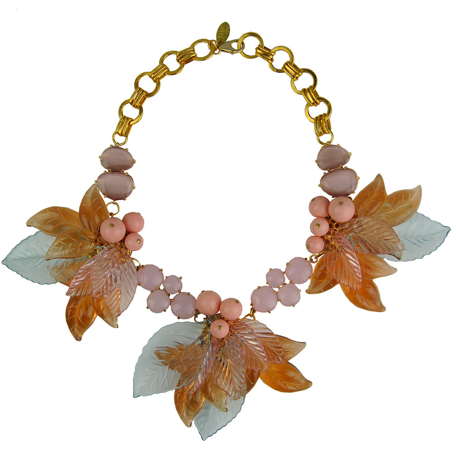 Cat's Eye and Acrylic Flowers Short Statement Necklace Katerina psoma