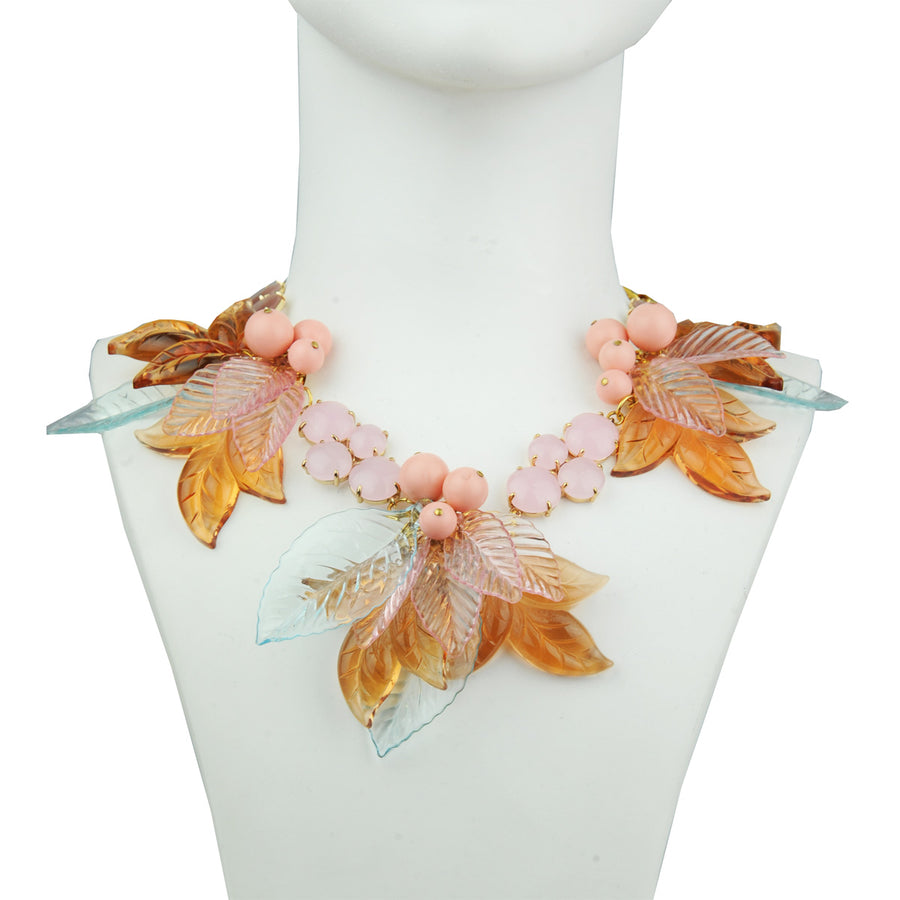 Cat's Eye and Acrylic Flowers Short Statement Necklace Katerina psoma model