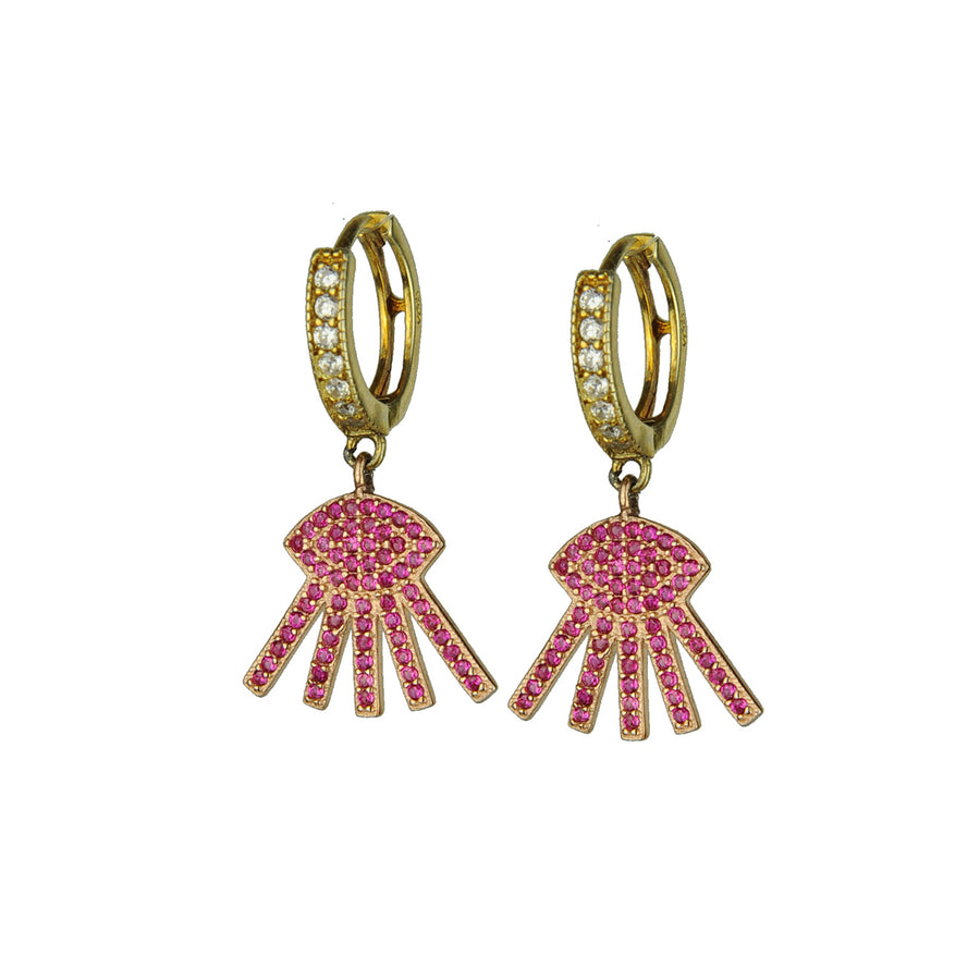 Hoops with Fuchsia Crystal Evil Eye Dangles katerina psoma