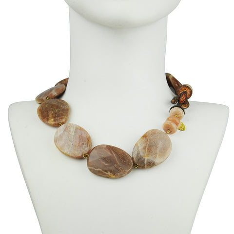 Faceted Agate Short Necklace with crystal closure katerina psoma