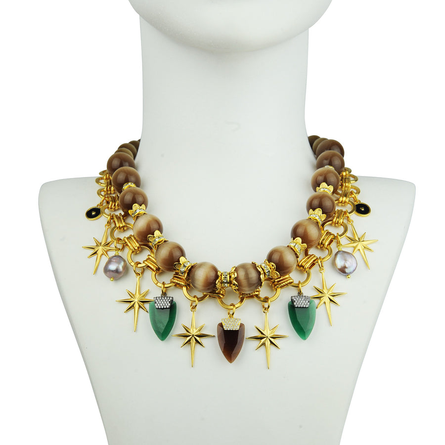 Chain chunky Necklace with Beige Cat's Eye Beads and Charms katerina psoma