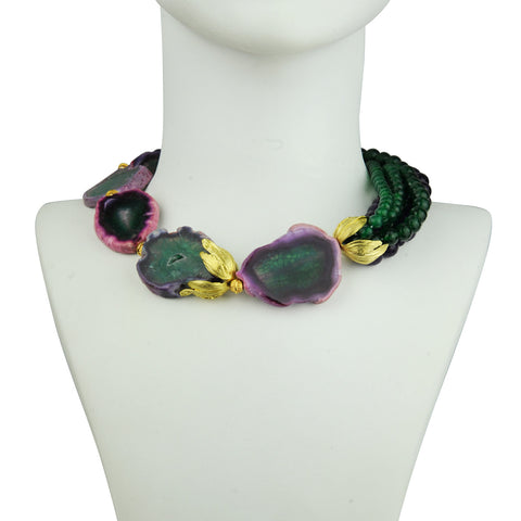 Green Agate Short Statement Necklace katerina psoma detail