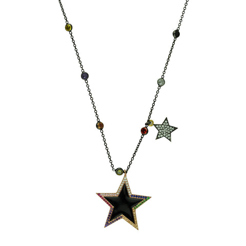 Star and Crystal Short Chain Necklace black plated
