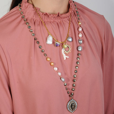 Long chain Necklace with a vintage Crystal Pendant katerina psoma