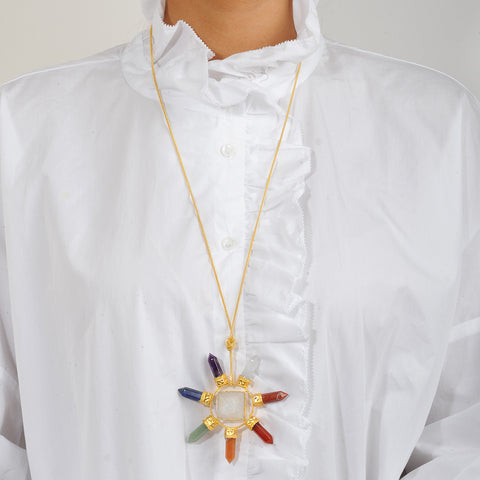 Long chain Necklace with a Pendant with semiprecious stones katerina psoma
