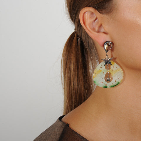 Statement Jade Dangle Earrings with Crystal Studs and Stars katerina psoma