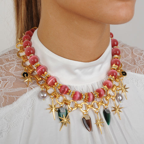 Chain chunky Short Necklace with Pink Cat's Eye Beads and Charms katerina psoma