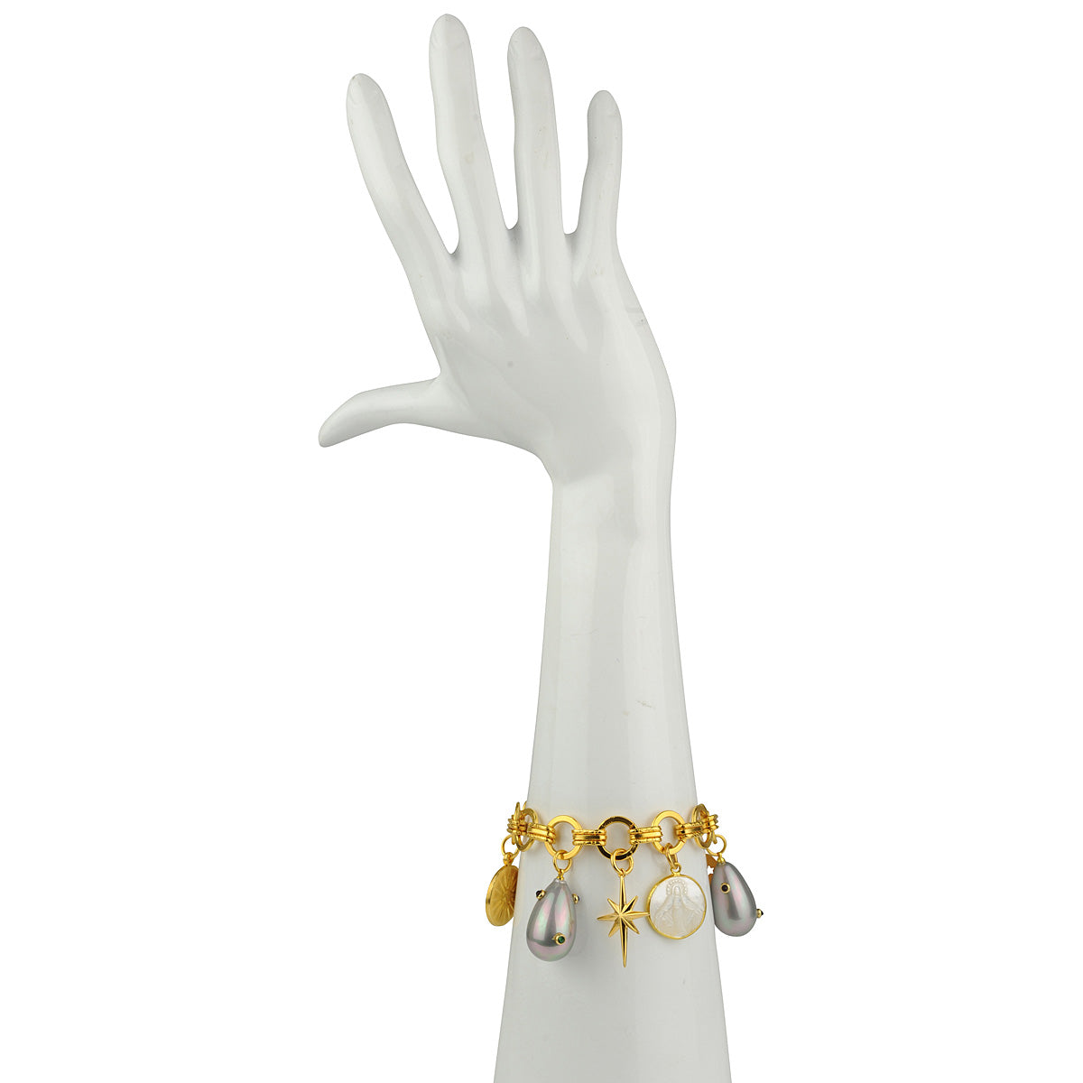 Bracelet with Various Charms and a Pearl Drop katerina psoma
