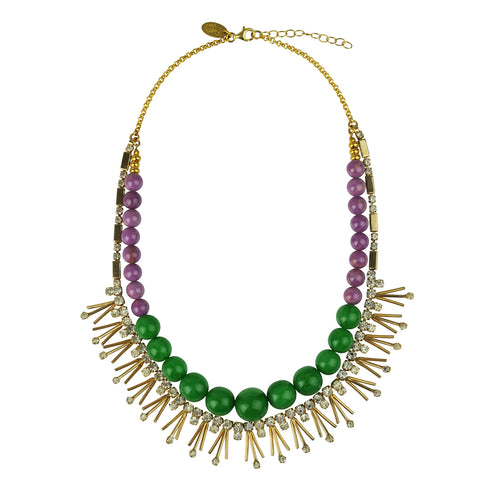 purple and green Bead Short Necklace with Vintage Crystals