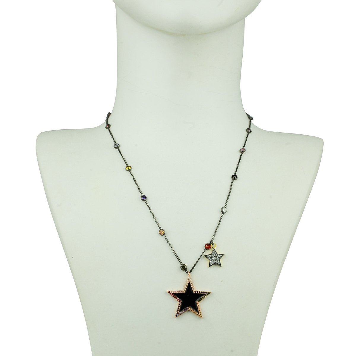 Short chain necklace with enamel star adorned with multi color crystals katerina psoma