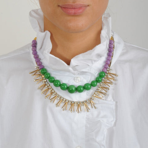 Purple and Green Bead Short Necklace with Vintage Crystals katerina psoma