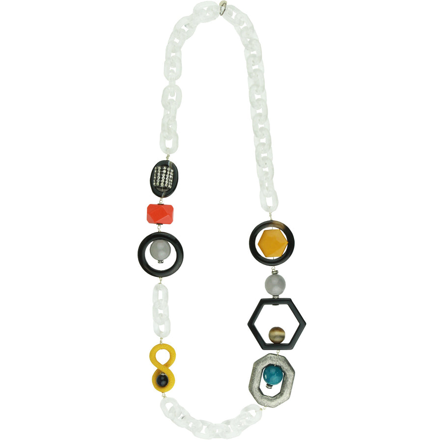 Acrylic Chain and Yellow Element Long Statement Necklace Katerina Psoma