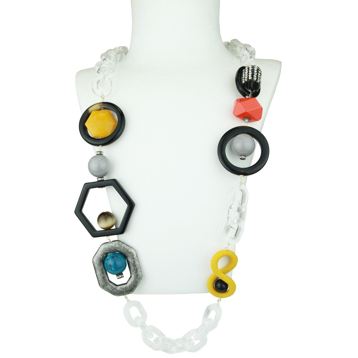 Memphis Acrylic Chain and Yellow Element Long Necklace