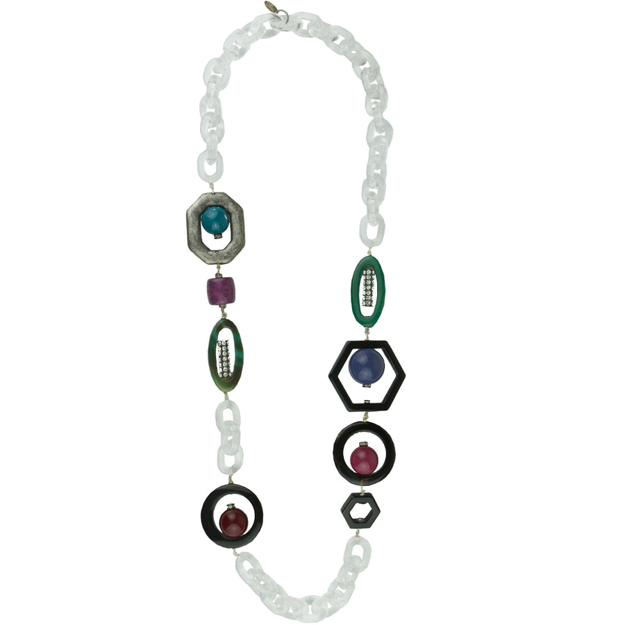 Acrylic Chain and Purple Element Long Statement Necklace katerina psoma