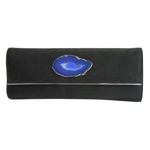 Black Suede Leather Clutch with Blue Agate