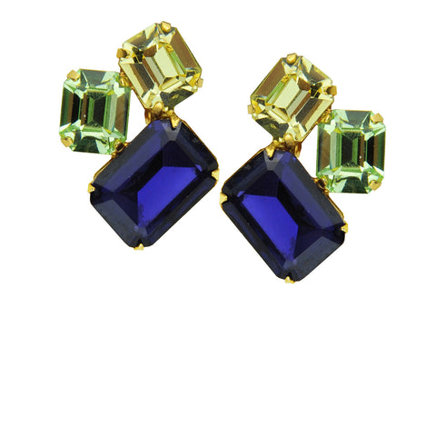 metal clip earrings with blue, yellow and  green crystals katerina psoma