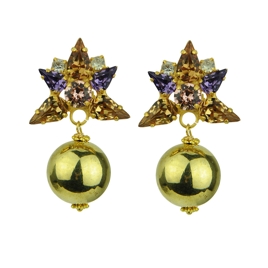 Katerina Psoma  Beige Crystal Clip Earrings with Gold Beads