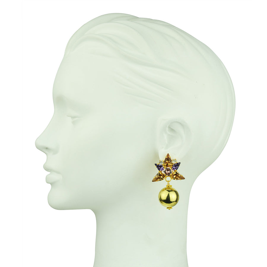 Katerina Psoma  Beige Crystal Clip Earrings with Gold Beads dangles