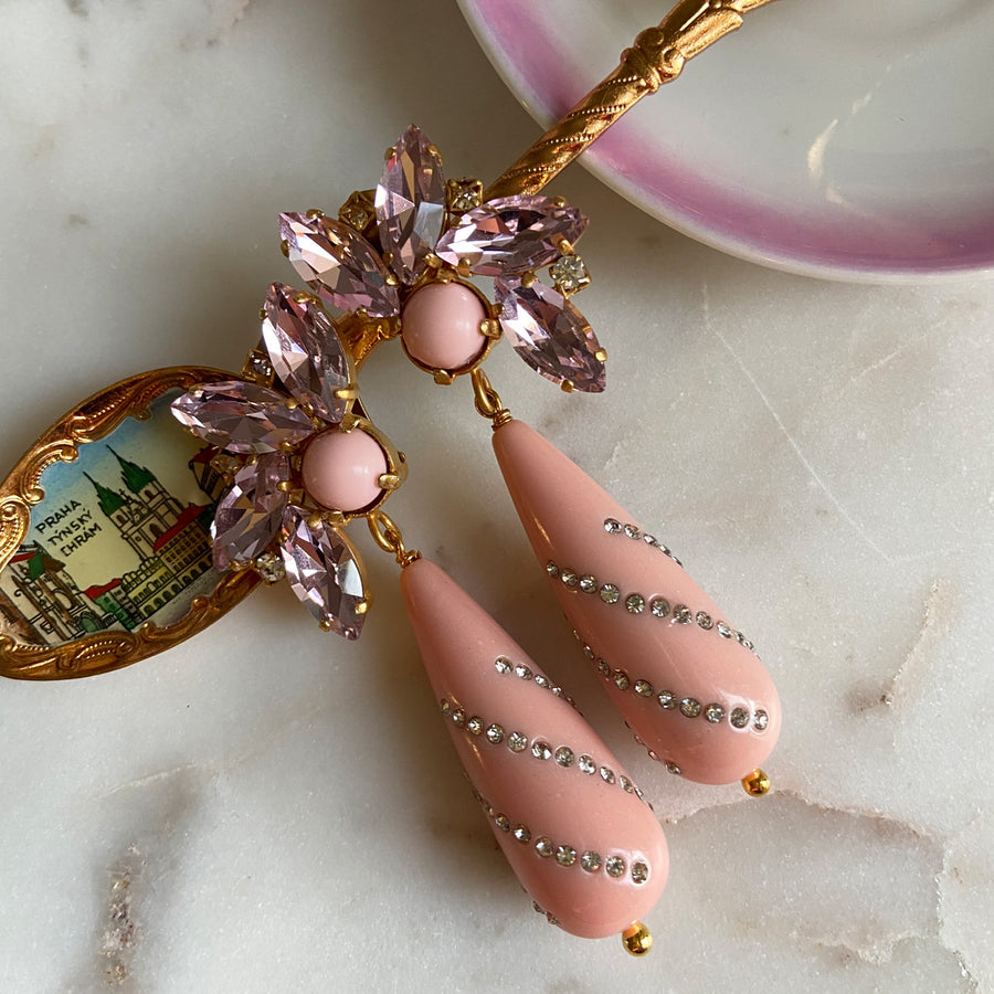 Alice Dangle Clip Earrings with Pink Drops and Crystals
