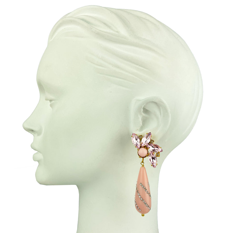 statement clip earrings with pink crystals and drops katerina psoma
