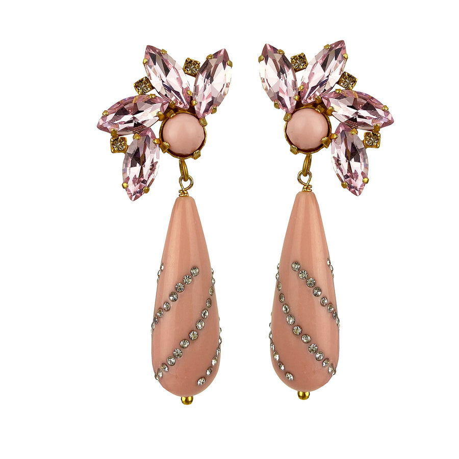 clip earrings with pink crystals and drops katerina psoma