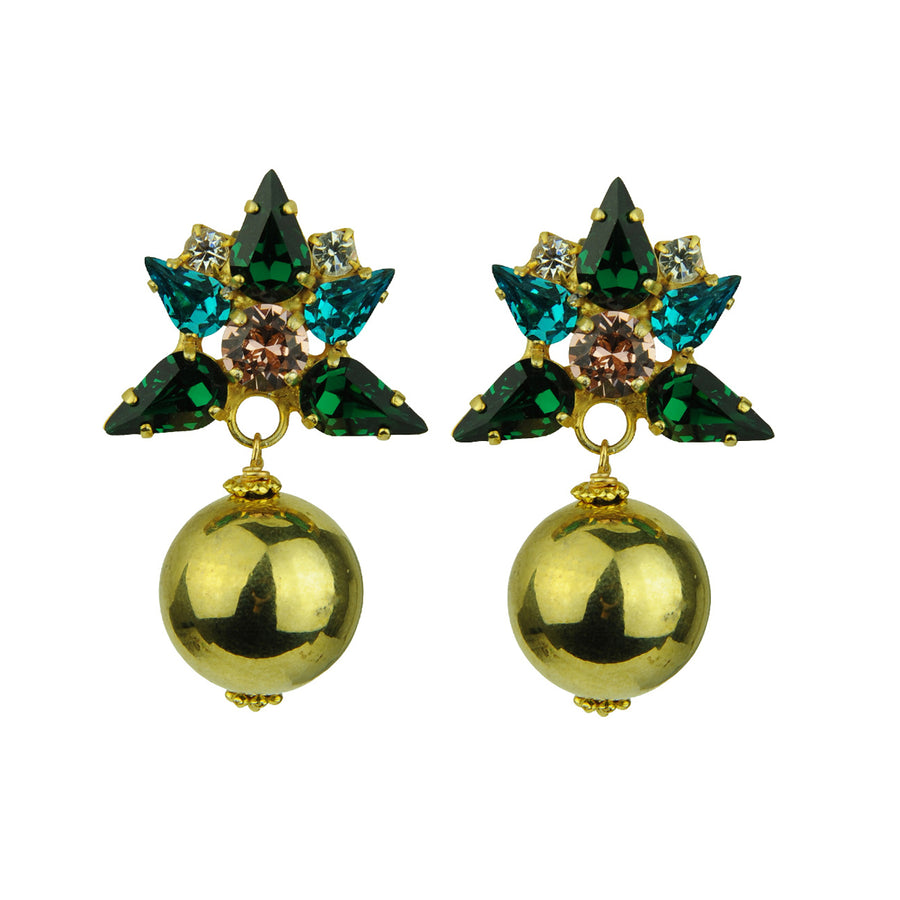 kATERINA pSOMA Green Crystal Clip Earrings with Gold Beads