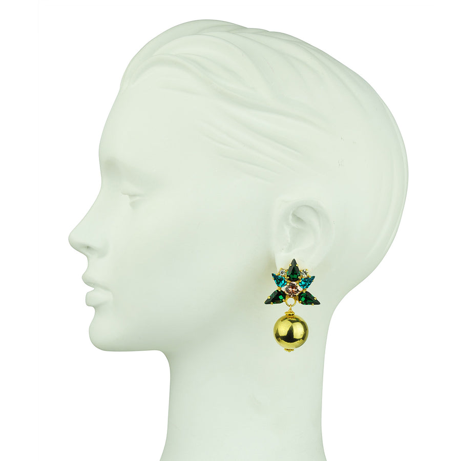 Katerina psoma Green Crystal Clip Earrings with Gold Beads costume jewelry dangels