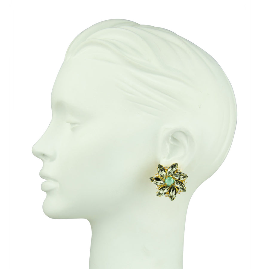 Katerina Psoma  Grey Rosette Clip Earrings costume jewelry