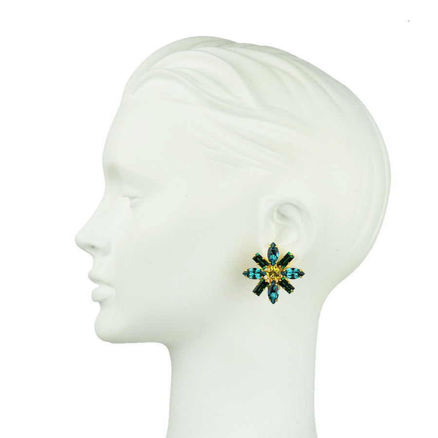 Katerina psoma  Green Crystal Rosette Clip Earrings detai