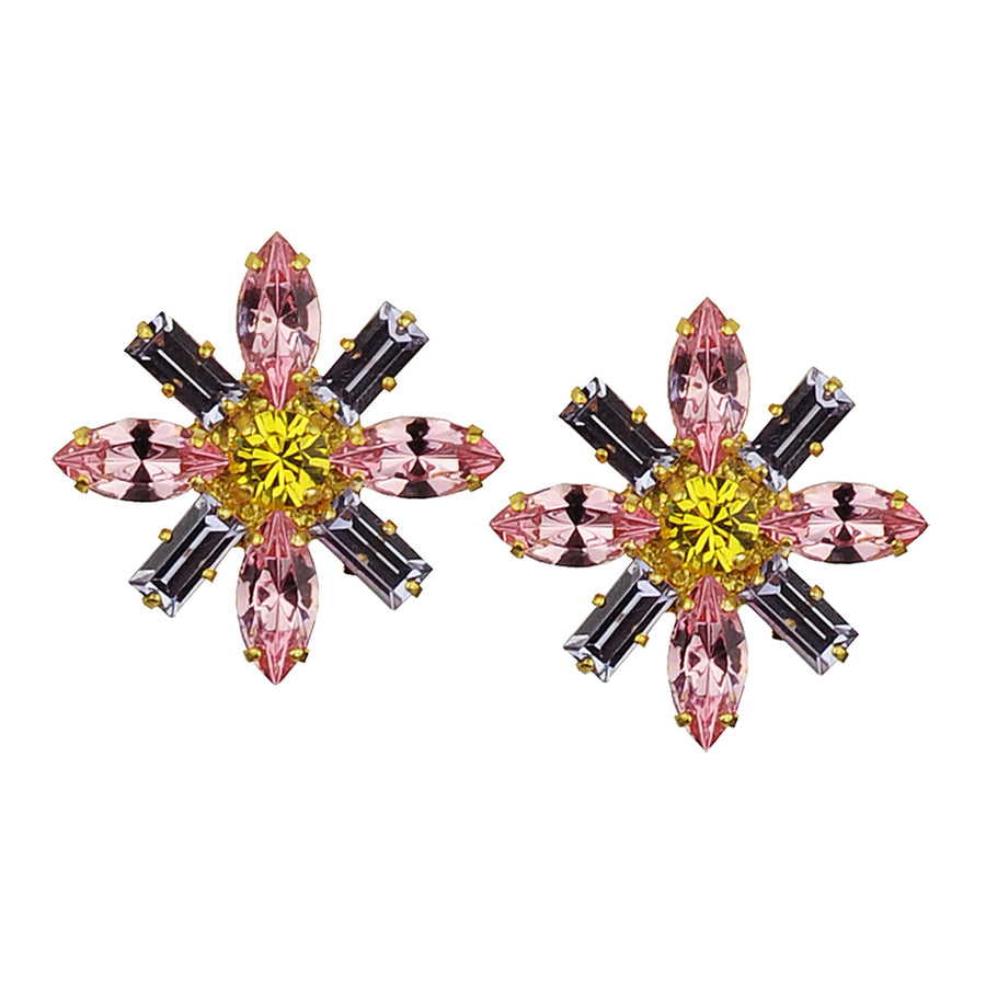 katerina psoma pink rosette crystal clip earrings