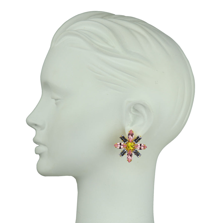 katerina psoma pink rosette crystal clip statement earrings
