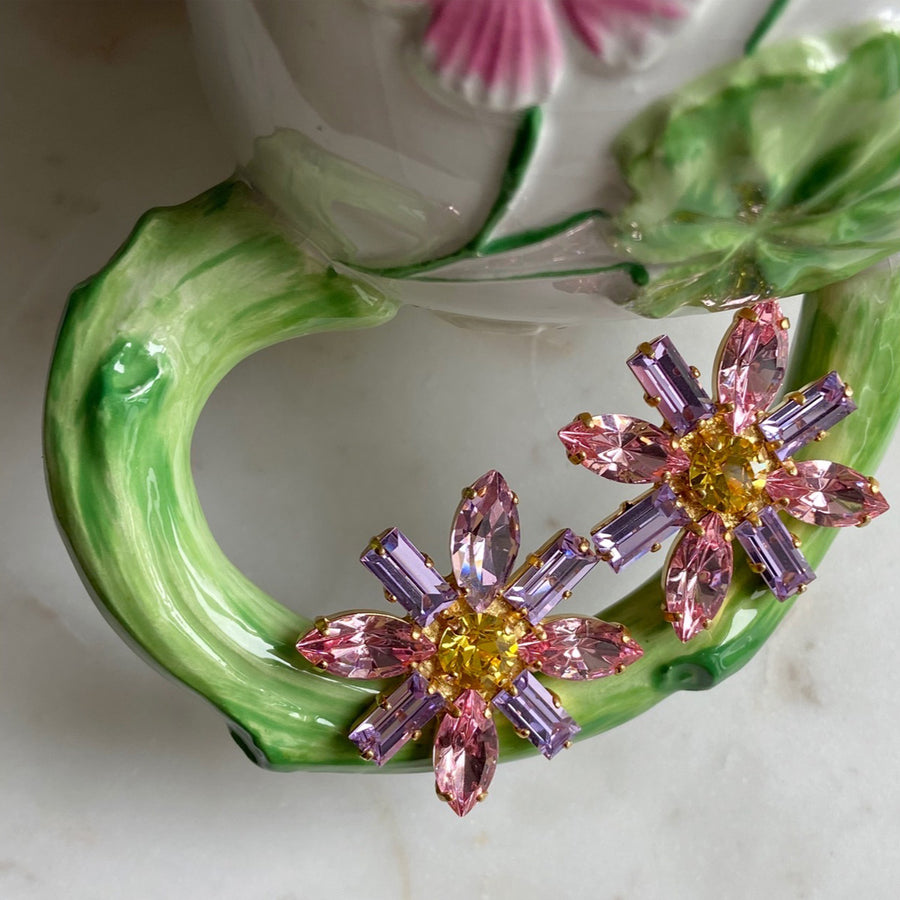 katerina psoma pink rosette crystal clip earrings close up