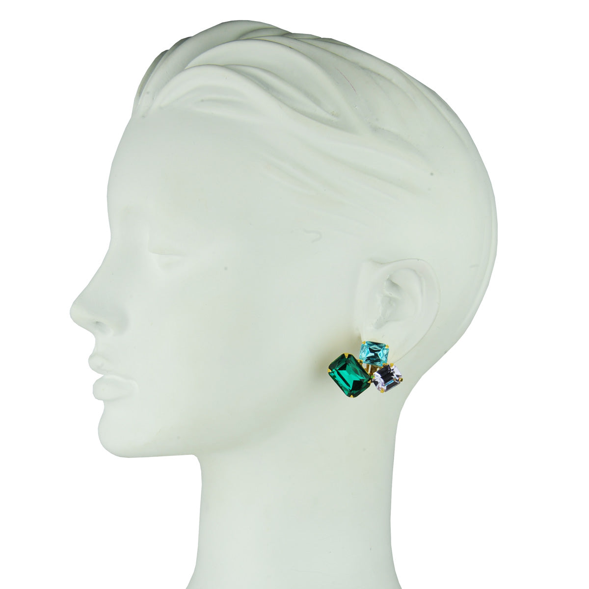 metal statement clip earrings with blue, violet and green crystals katerina psoma