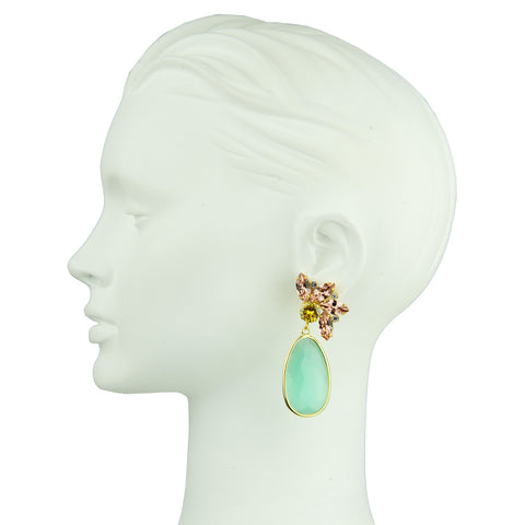 Crystal Clip Dangle Earrings with Aqua Marine Drops and crystals katerina psoma