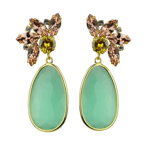 Crystal Dangle Earrings with Aqua Marine Drops and clips katerina psoma