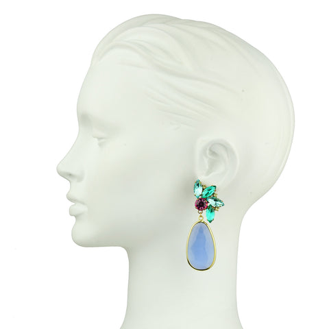 Crystal Dangle Earrings with Blue Drops with crystals katerina psoma