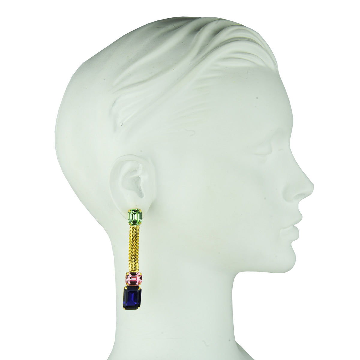 katerina psoma multicolor crystal earrings with chain and 925 silver stud