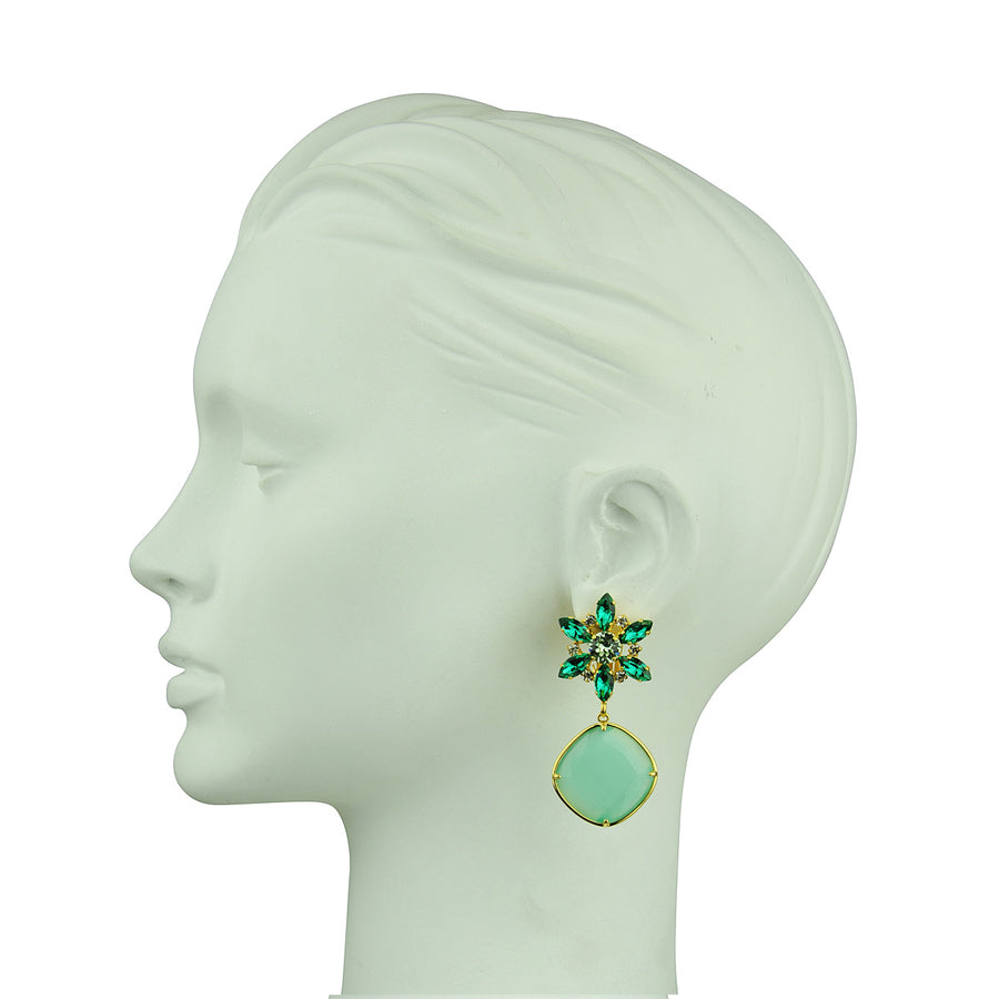 Katerina psoma Crystal Earrings with Aqua Drops clips