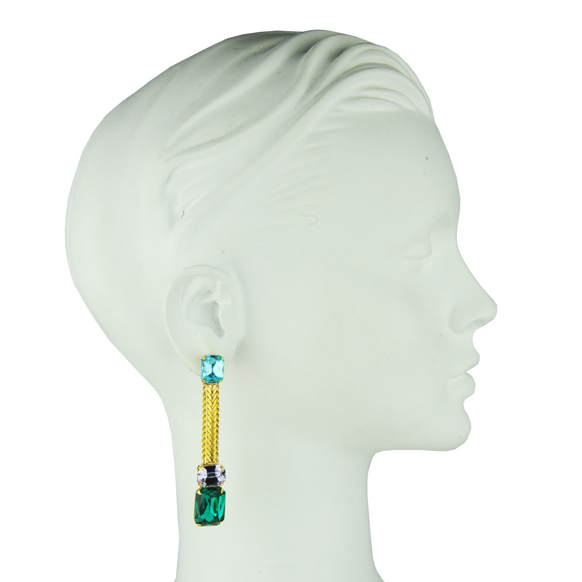 Katerina psoma crystal dangle earrings green